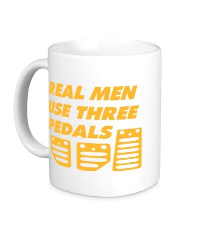 Керамическая кружка Real man use three pedals
