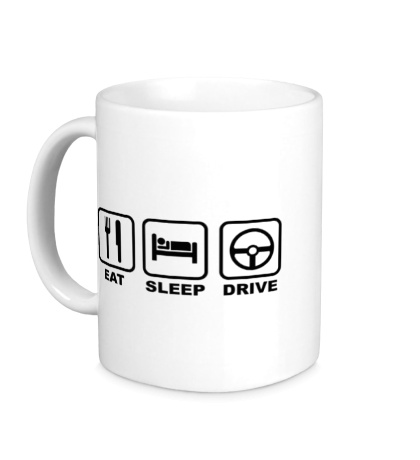 Керамическая кружка Eat sleep drive