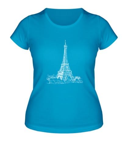 Женская футболка Эйфелева башня