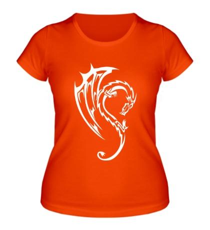 Женская футболка Дракон в тату стиле