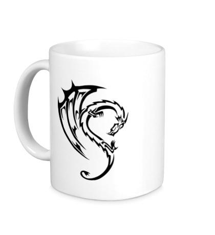 Керамическая кружка Дракон в тату стиле