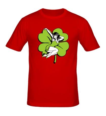 Мужская футболка Девушка с четырехлистником