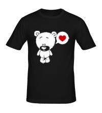 Мужская футболка Влюбленный мишка