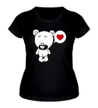 Женская футболка Влюбленный мишка