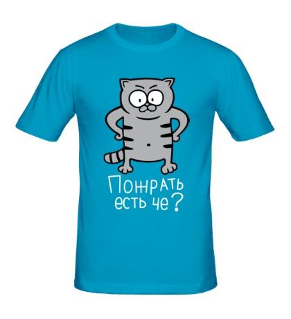 Мужская футболка Кот: пожрать есть че?