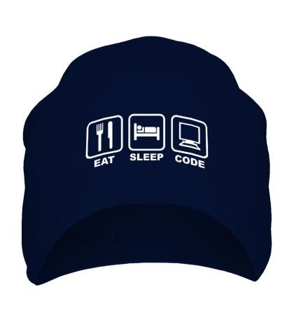 Шапка Eat sleep code Ешь, Спи, Программируй