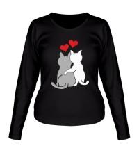 Женский лонгслив Влюбленные котята