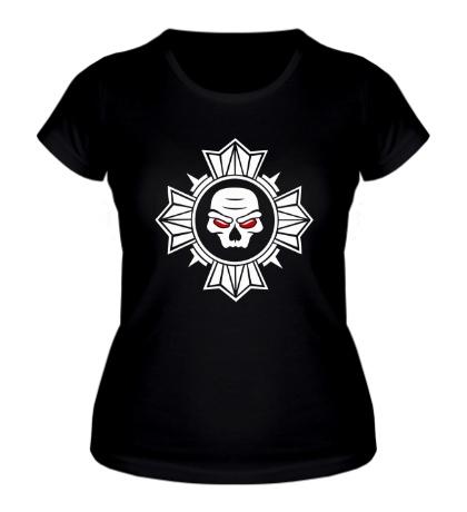 Женская футболка Череп внутри креста