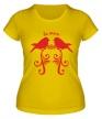 Женская футболка «Влюбленные птички» - Фото 1