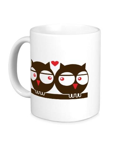 Керамическая кружка «Влюбленные совы»