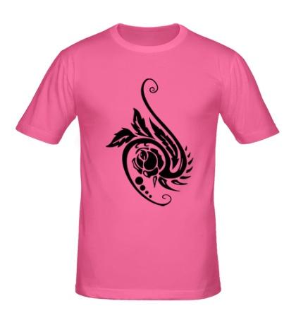 Мужская футболка Цветок в тату стиле
