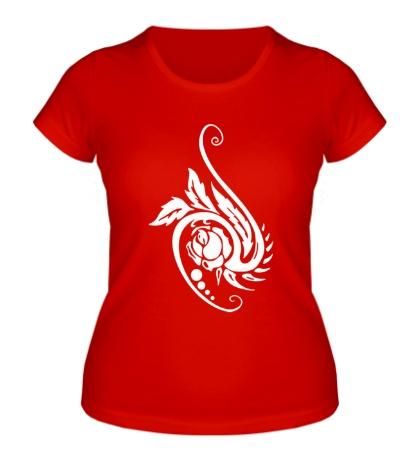 Женская футболка Цветок в тату стиле