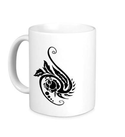 Керамическая кружка Цветок в тату стиле