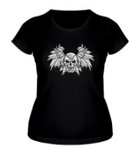 Женская футболка Крылья и стальной череп