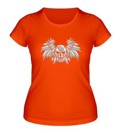 Женская футболка «Крылья и стальной череп»