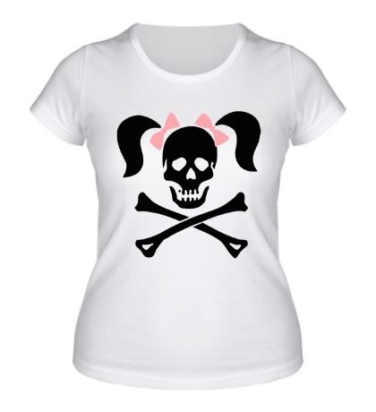 Женская футболка «Череп девушки-пирата»