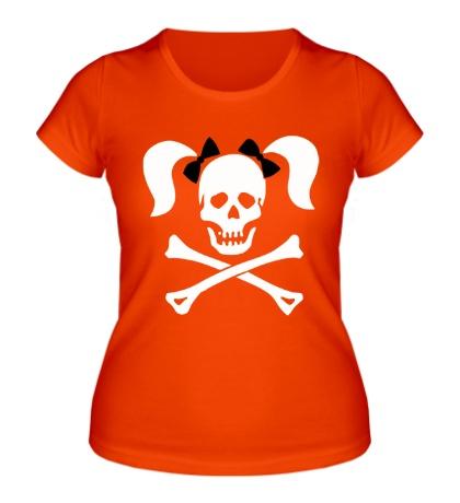 Женская футболка Череп девушки-пирата