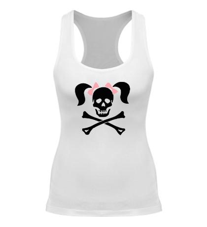 Женская борцовка «Череп девушки-пирата»
