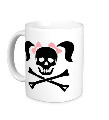Керамическая кружка Череп девушки-пирата