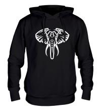 Толстовка с капюшоном Слон тату