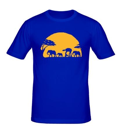 Мужская футболка Слоны на закате