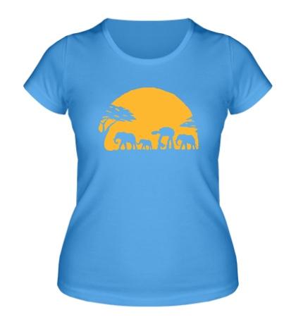 Женская футболка «Слоны на закате»