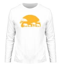 Мужской лонгслив Слоны на закате