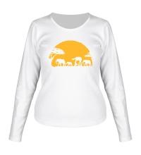 Женский лонгслив Слоны на закате