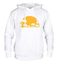 Толстовка с капюшоном Слоны на закате