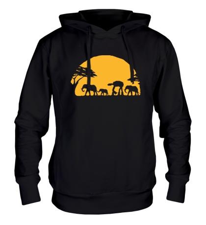 Толстовка с капюшоном «Слоны на закате»