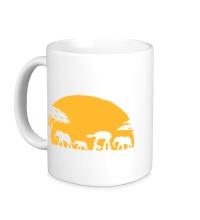 Керамическая кружка Слоны на закате