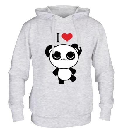 Толстовка с капюшоном Я люблю панд