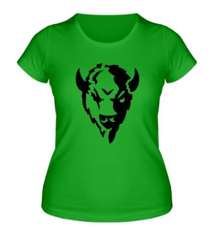 Женская футболка Голова зубра