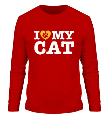 Мужской лонгслив I love my Cat