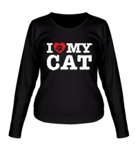 Женский лонгслив I love my Cat