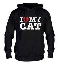 Толстовка с капюшоном I love my Cat