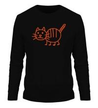 Мужской лонгслив Рисунок кота