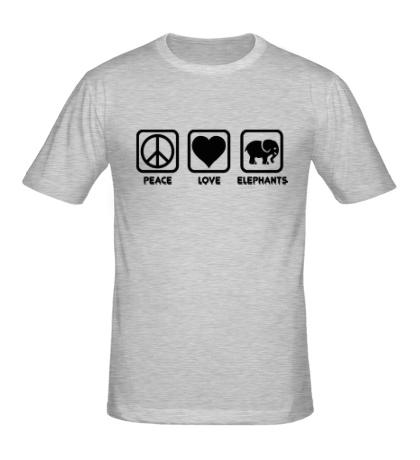 Мужская футболка Peace love elephants