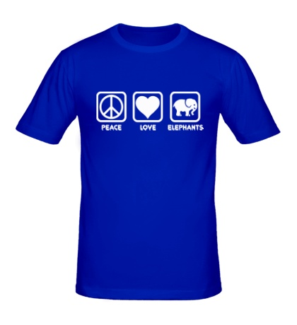 Мужская футболка «Peace love elephants»