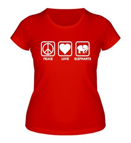 Женская футболка Peace love elephants