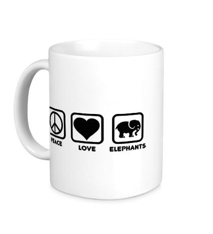Керамическая кружка Peace love elephants