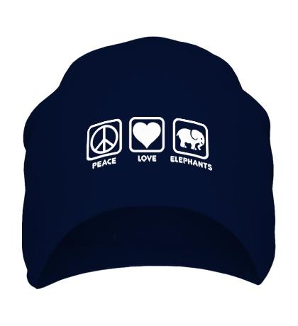 Шапка Peace love elephants