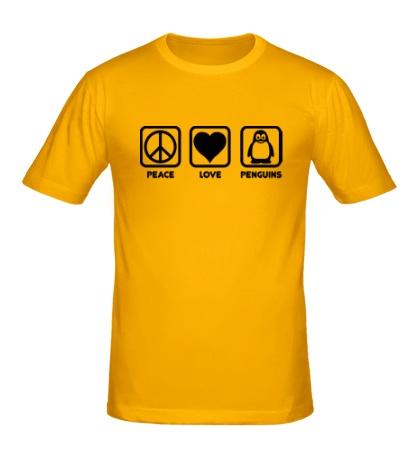 Мужская футболка Peace love penguins