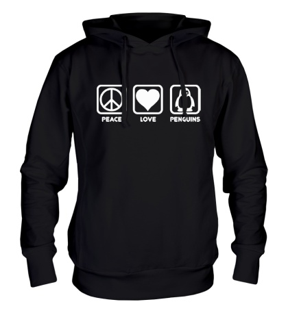Толстовка с капюшоном Peace love penguins