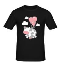 Мужская футболка Корова с шариками