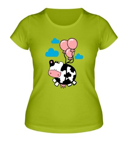 Женская футболка Корова с шариками