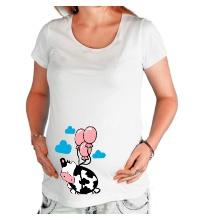 Футболка для беременной Корова с шариками