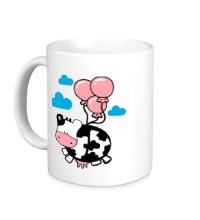 Керамическая кружка Корова с шариками