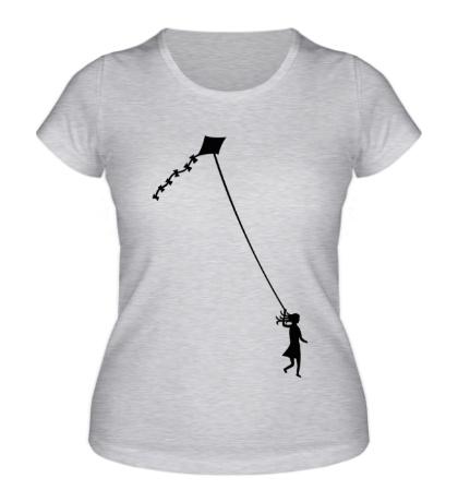 Женская футболка Девочка с воздушным змеем