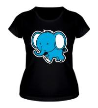 Женская футболка Голубой слоник